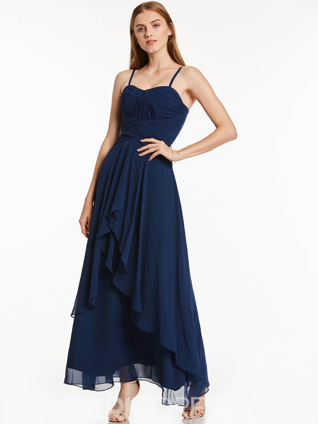 Ericdress Spaghetti Straps Pleats A Line Chiffon Ankle Length Prom Dress