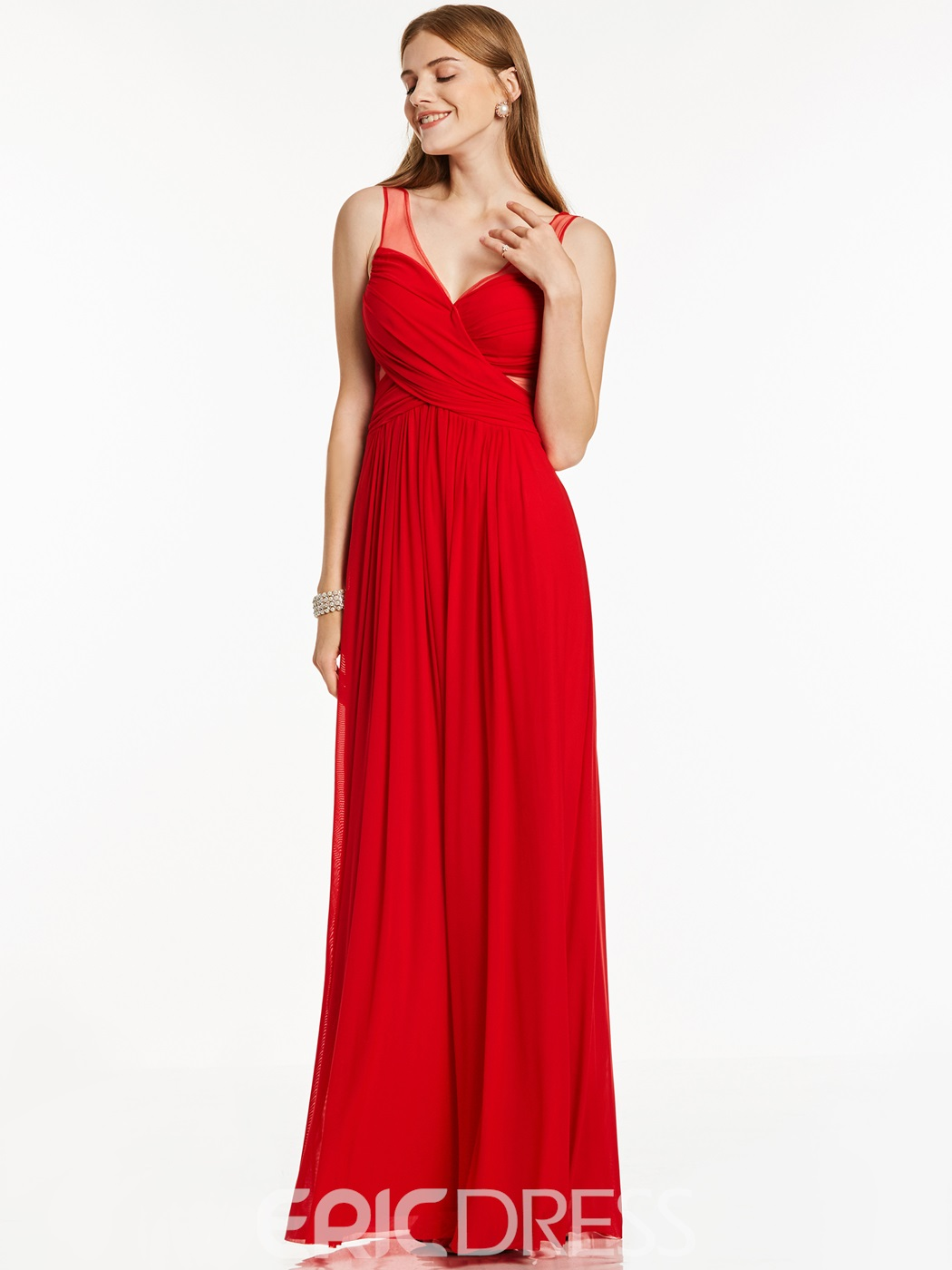 Ericdress A Line V Neck Sleeveless Zipper-Up Long Evening Dress