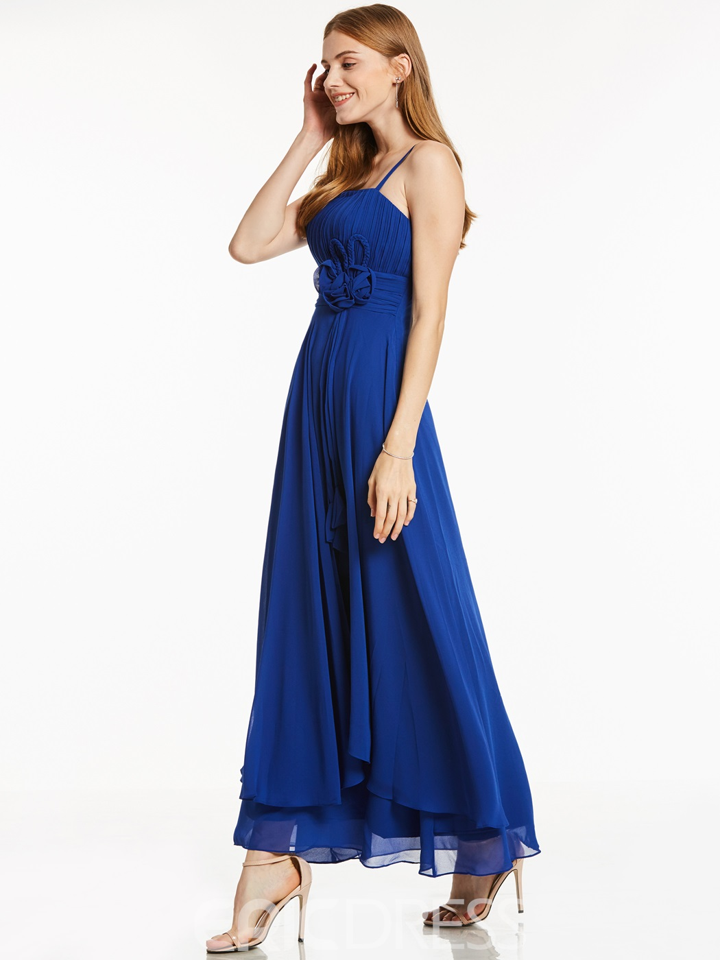 Ericdress A Line Spaghetti Straps Asymmetry Chiffon Ankle Length Prom Dress