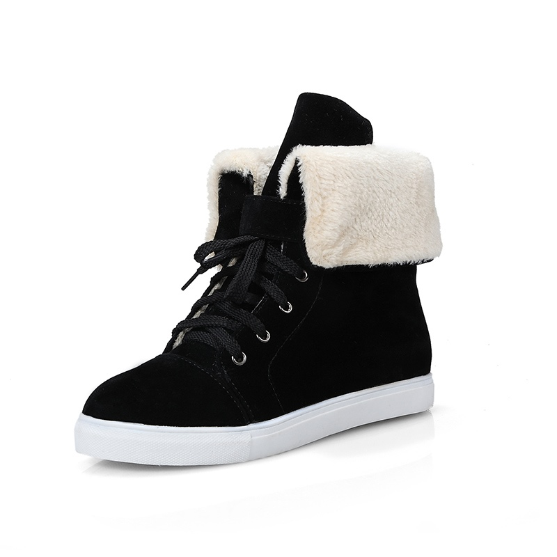 Ericdress Plain Fuzzy Lace-Up Women's Ankle Boots
