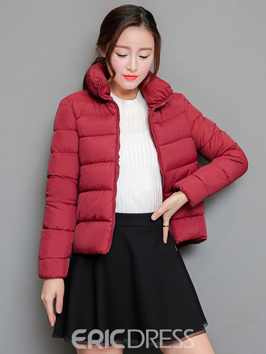 Ericdress Plain Slim Lapel Zipper Coat