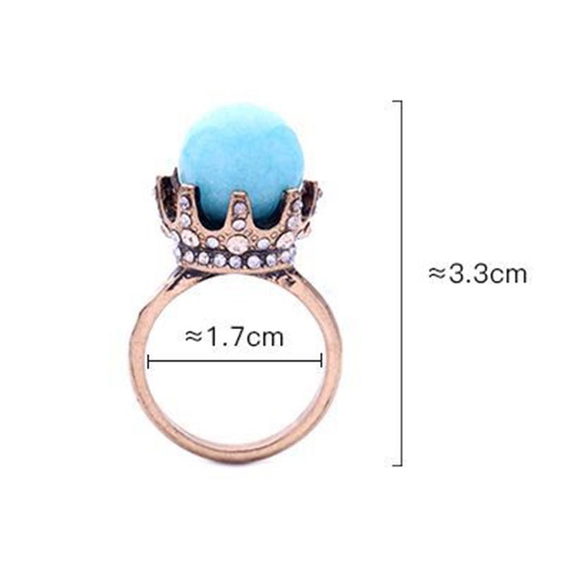 Ericdress Retro Style Diamante Crown Ring for Women