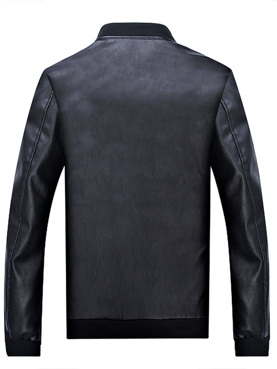 Ericdress Plain PU Leather Zipper Men's Jacket