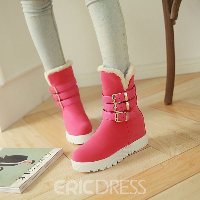 Ericdress Buckle Platform Slip-On Women's Snow Boots