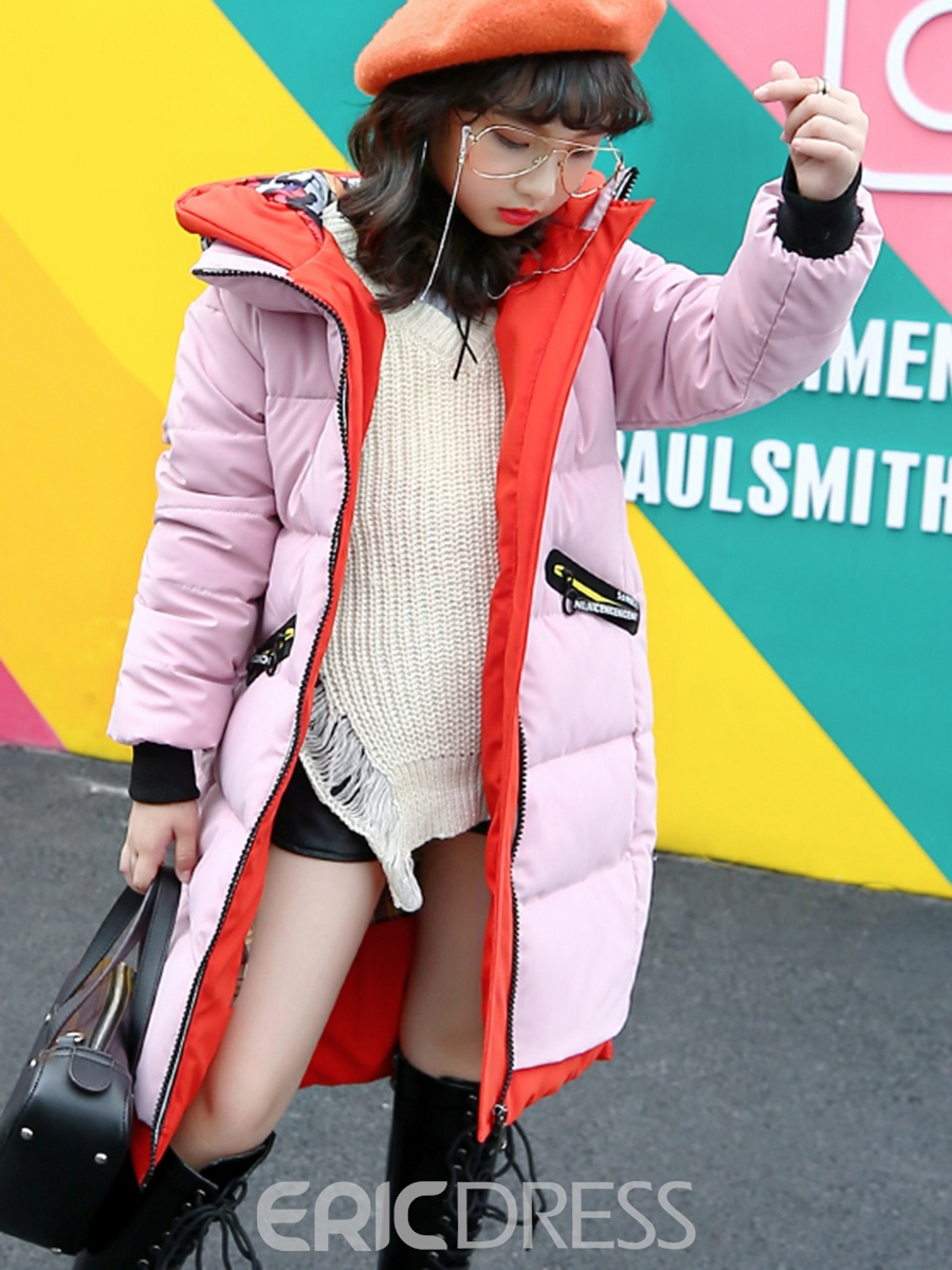 Ericdress Fashion Print Zipper Hooded Girl's Down Jacket