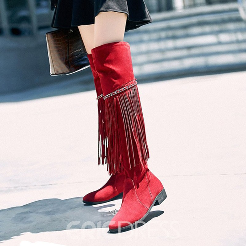562299b6909 Ericdress Fringe Slip-On Plain Women s Knee High Boots 13066824 ...