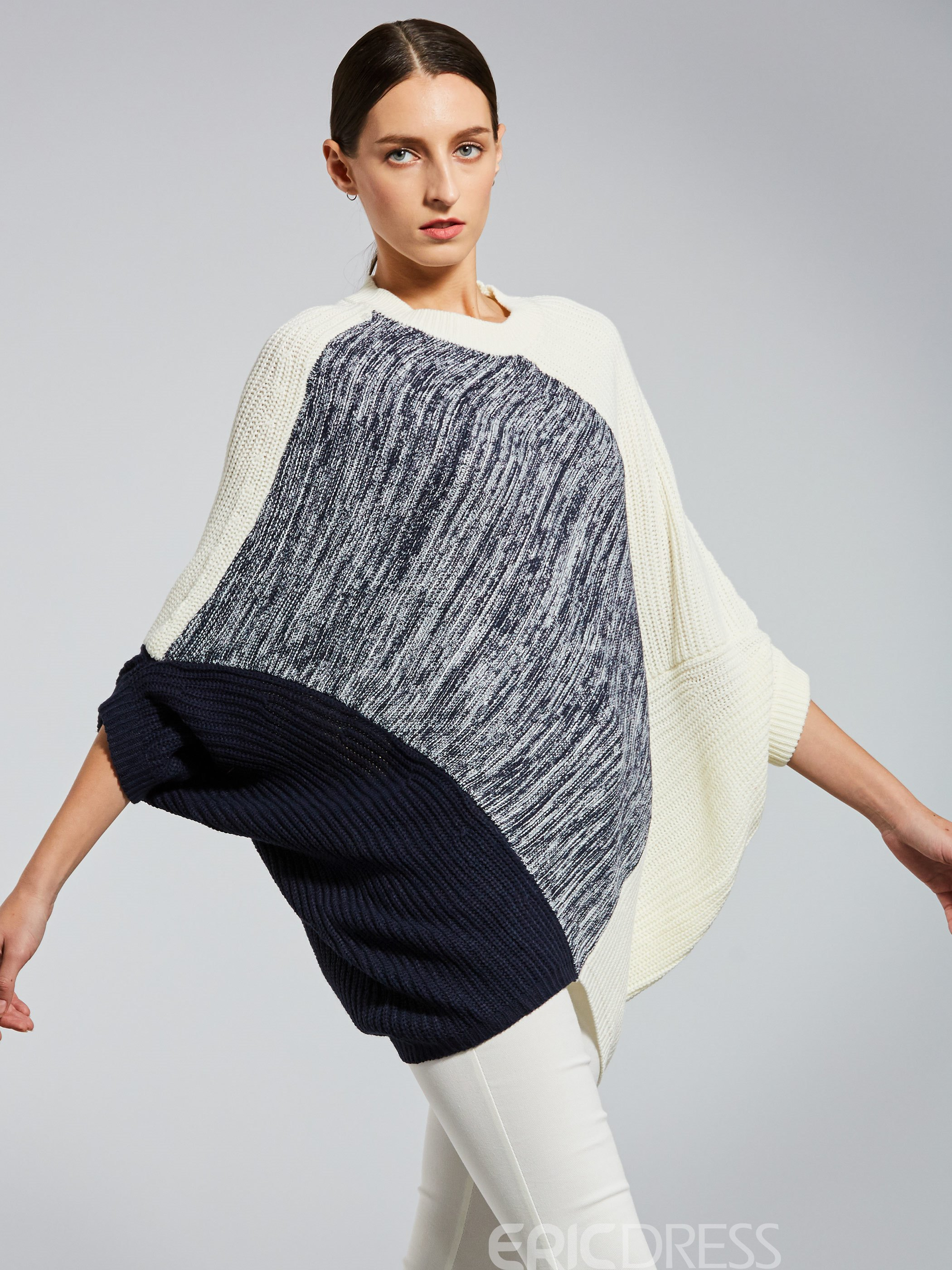 Ericdress Color Block Batwing Sleeve Pullover Sweater