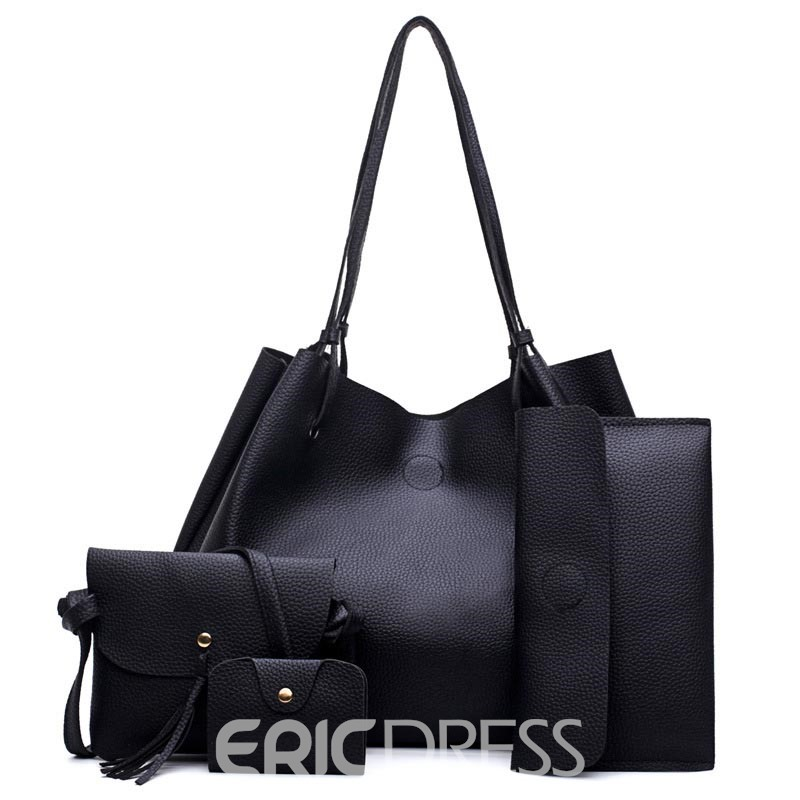 Ericdress Solid Color Soft PU Zipper Handbag (3 Bag Set)