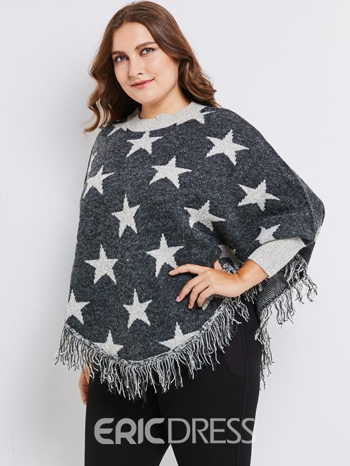 Ericdress Tassel Batwing Sleeve Star Plus Size Sweater