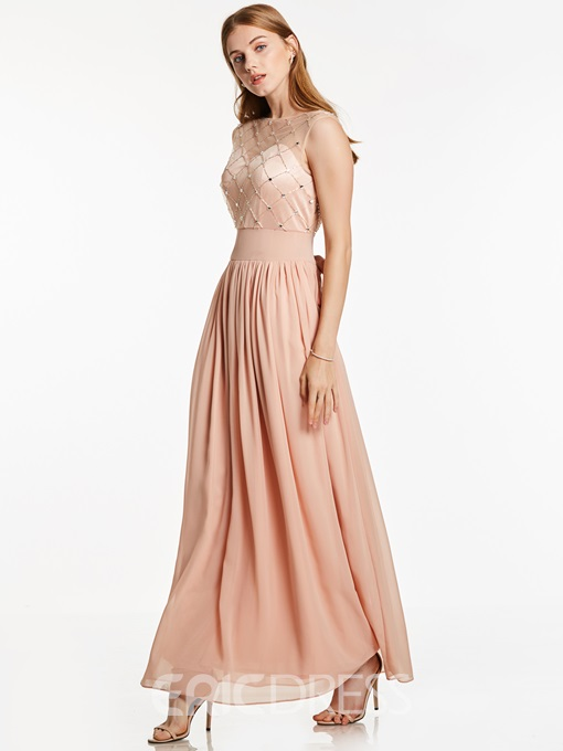 Ericdress Scoop Neck Zipper-Up Beaded A Line Evening Dress
