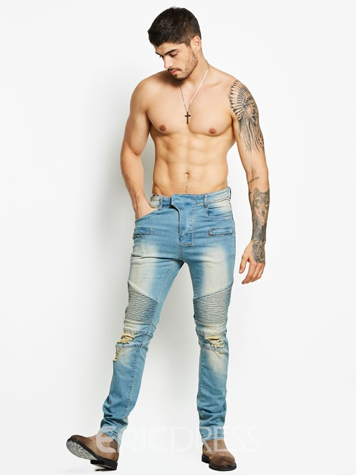 Ericdress Worn Slim Men's Denim Pants