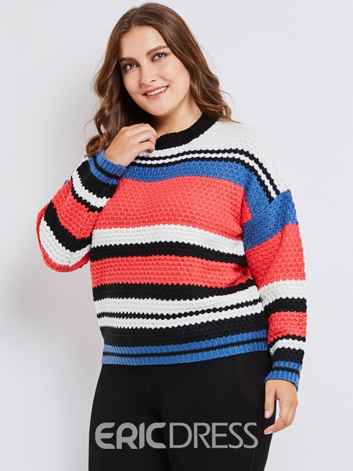 Ericdress Stripe Color Block Plus Size Knitwear