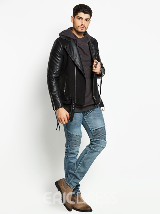 Ericdress Notched Lapel PU Men's Jacket
