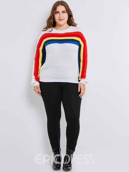 Ericdress Stripe Color Block Plus Size Sweater