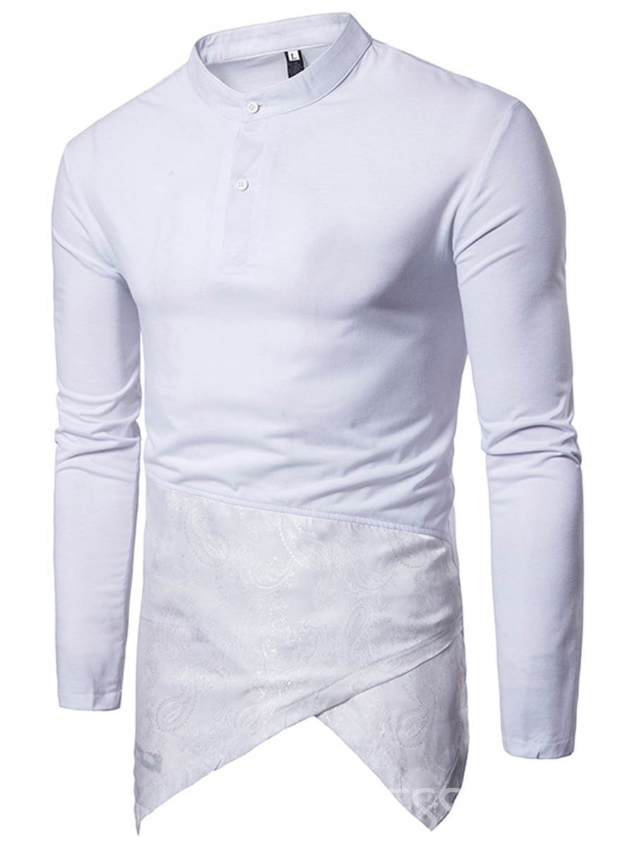 Ericdress Iiregular Patched Slim Men's Shirt