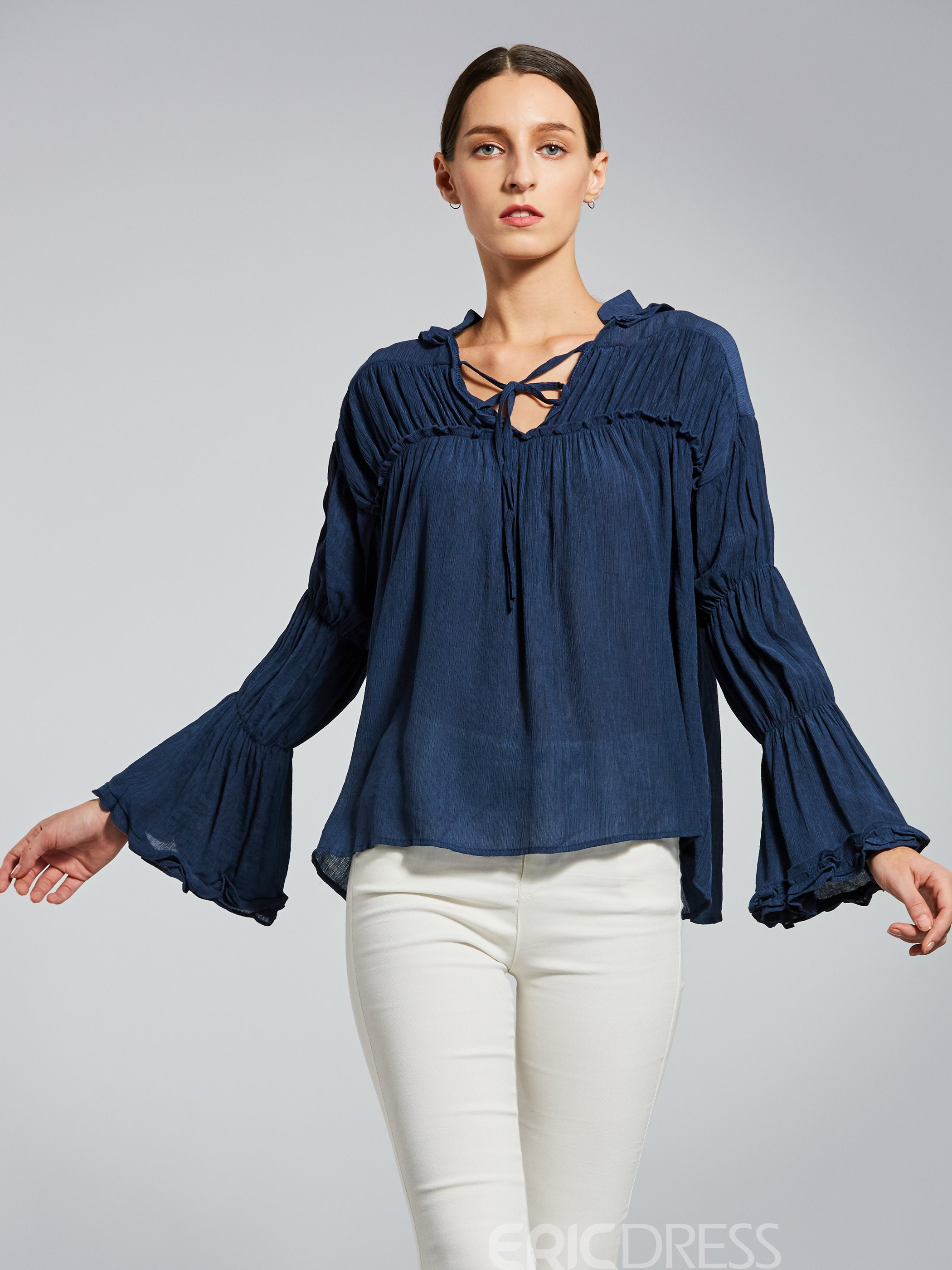Ericdress V-Neck Lace-Up Plain Pullover Women's Blouse
