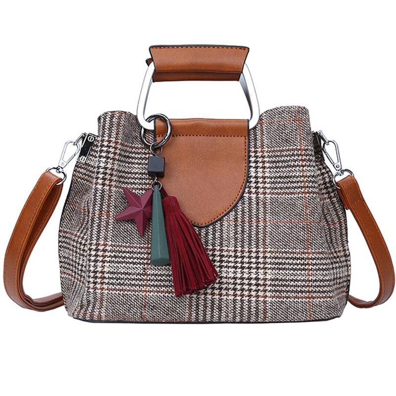 Ericdress Exquisite Pendant Plaid Crossbody Bag