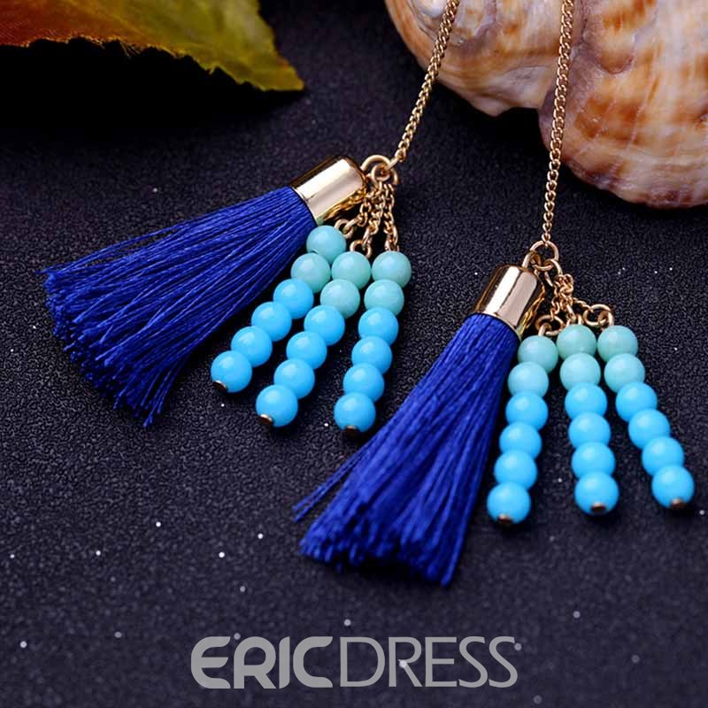 Ericdress Beads Tassel Long Drop Earring