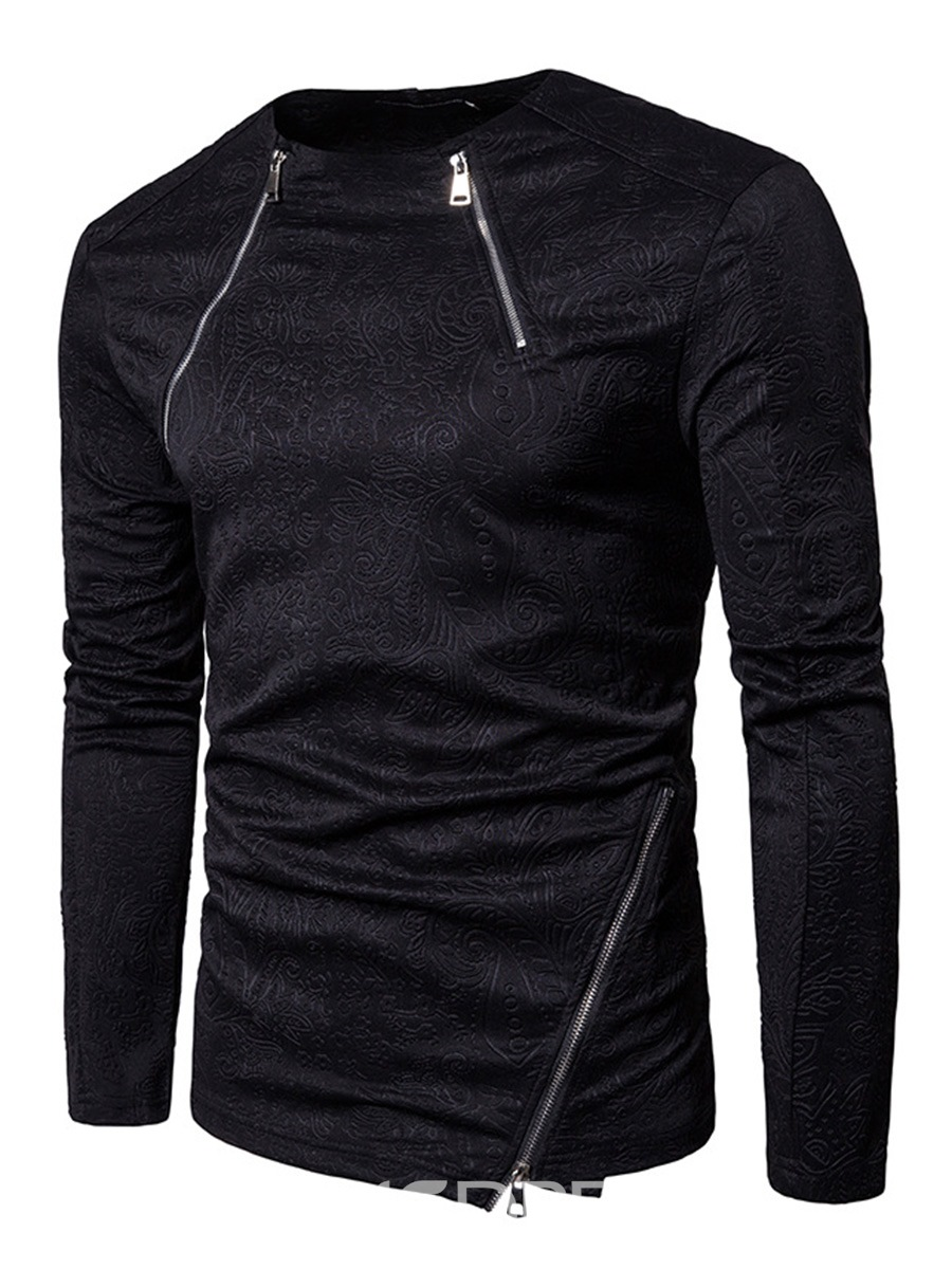 Ericdress Black Zip Patched Vogue Men's Hoodie