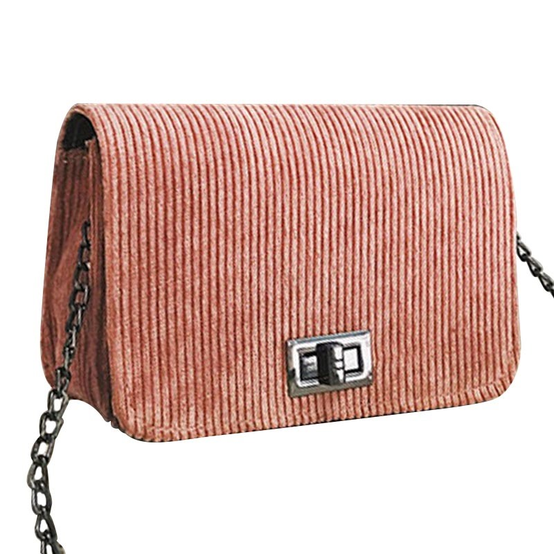 Ericdress Corduroy Lock Adornment Mini Crossbody Bag