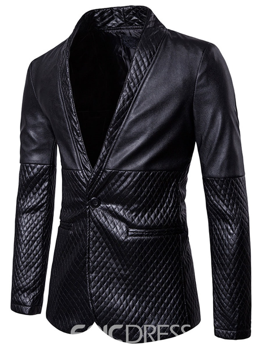 Ericdress Plain PU Slim Vogue Men's Blazer