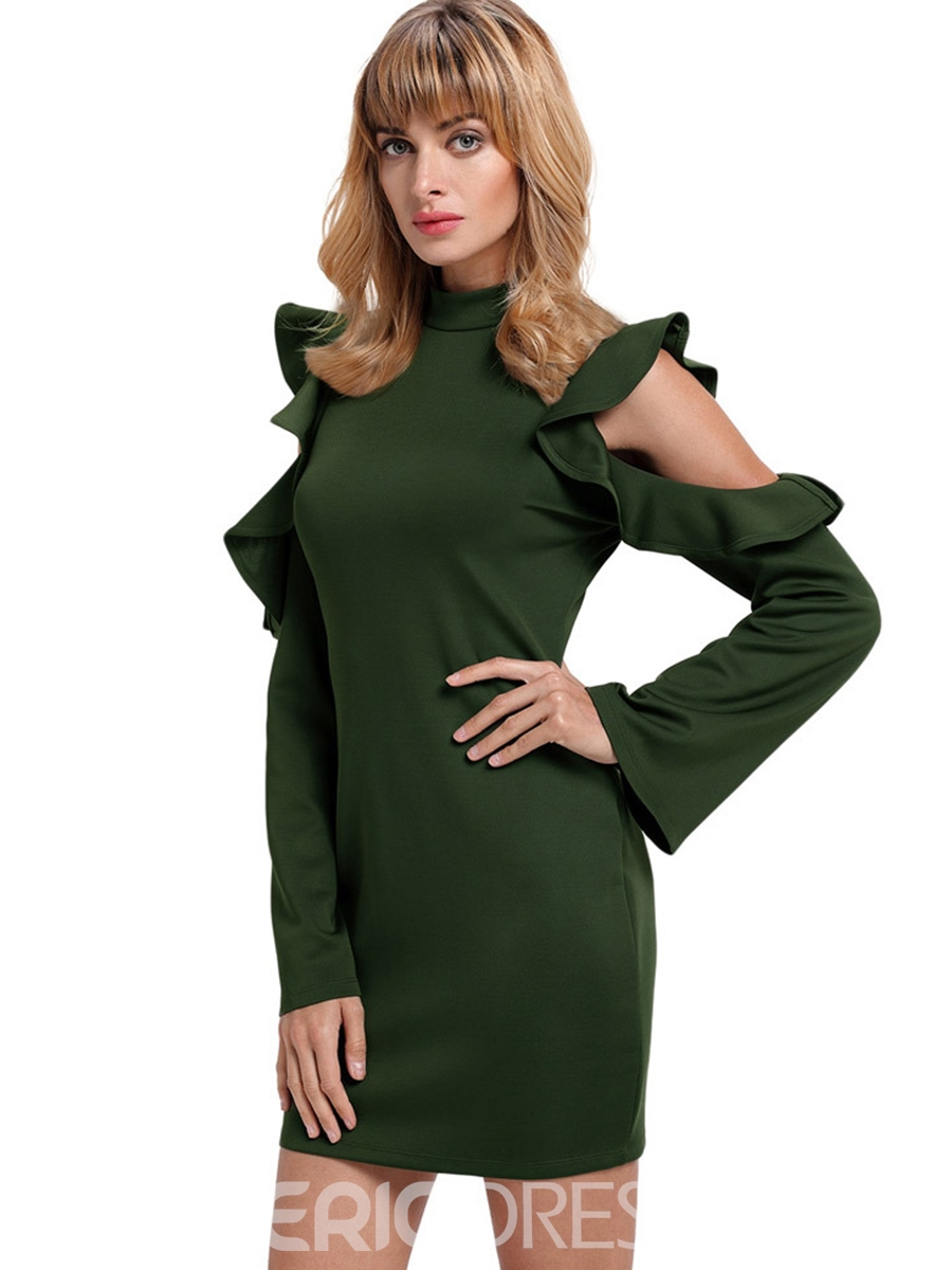 Ericdress Stand Collar Cold-Shoulder Ruffle Long Sleeve Bodycon Dress