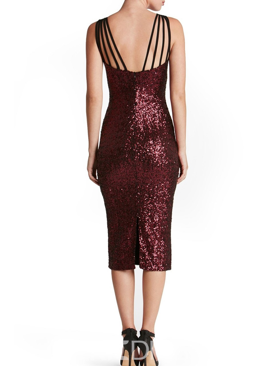 Ericdress Sequin Spaghetti Strap Mid-Calf Bodycon Dress