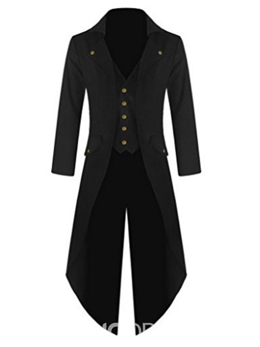 Ericdress Plain Slim Fitted Swallowtail Men's Trench Coat