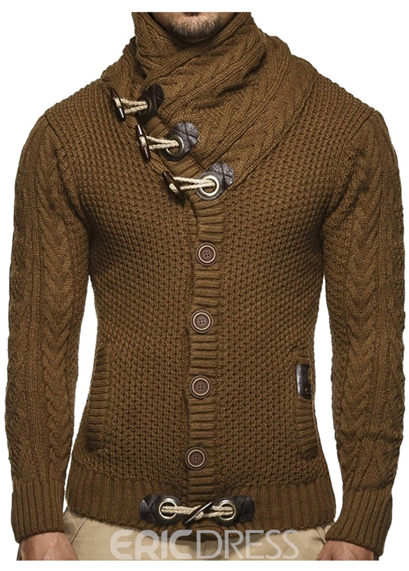 Ericdress Plain Shawl Neck Button European Style Mens Sweaters