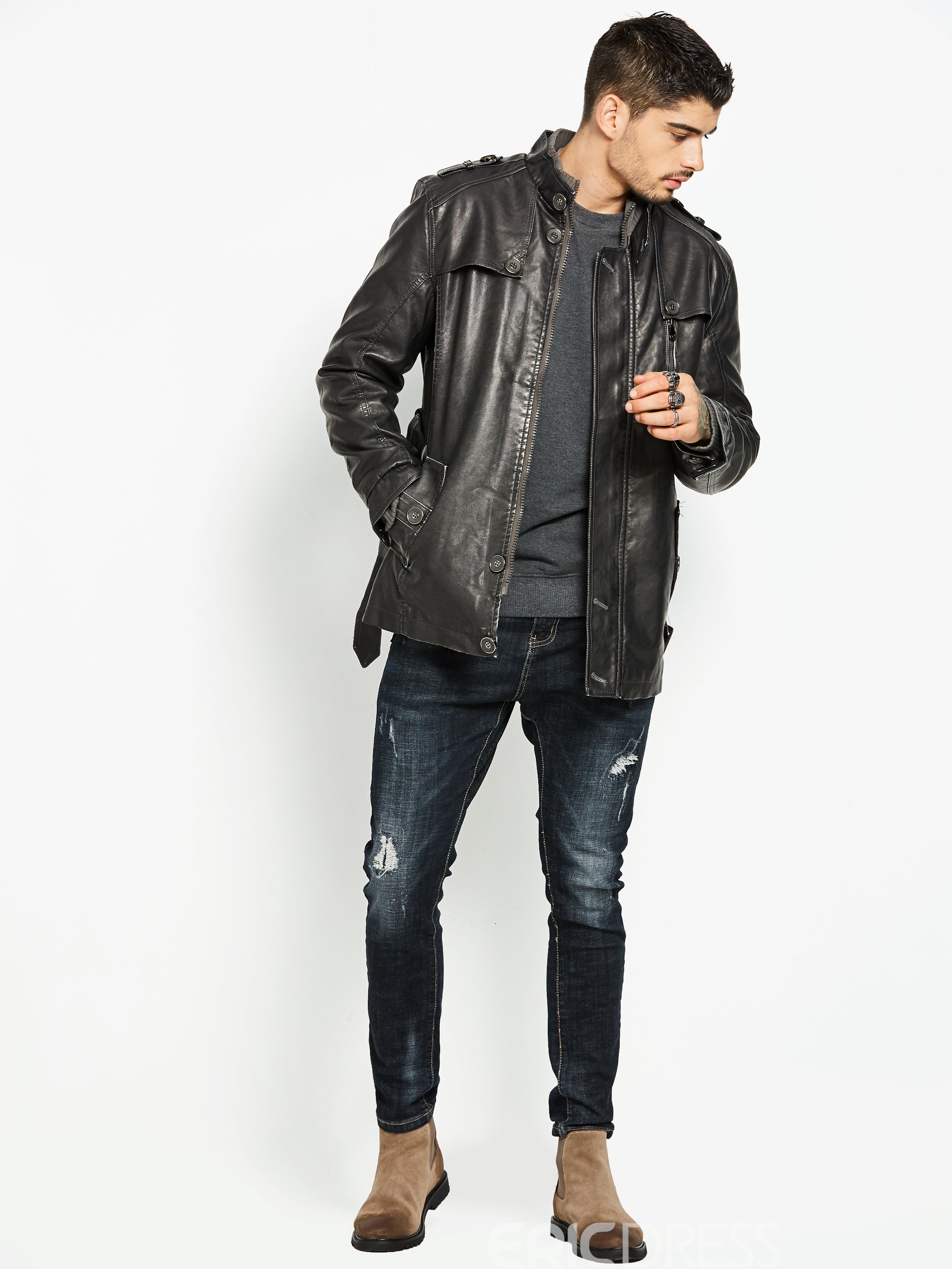 Ericdress Stand Collar PU Locomotive Men's Jacket
