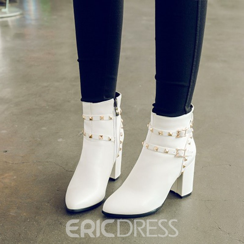 Ericdress Rivet Plain Side Zipper Chunky Heel Boots