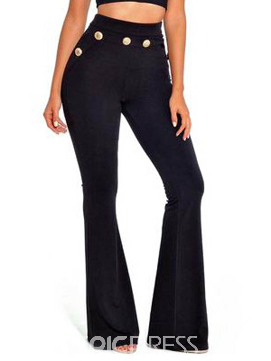 Ericdress Slim Button Bellbottom Women's Pants