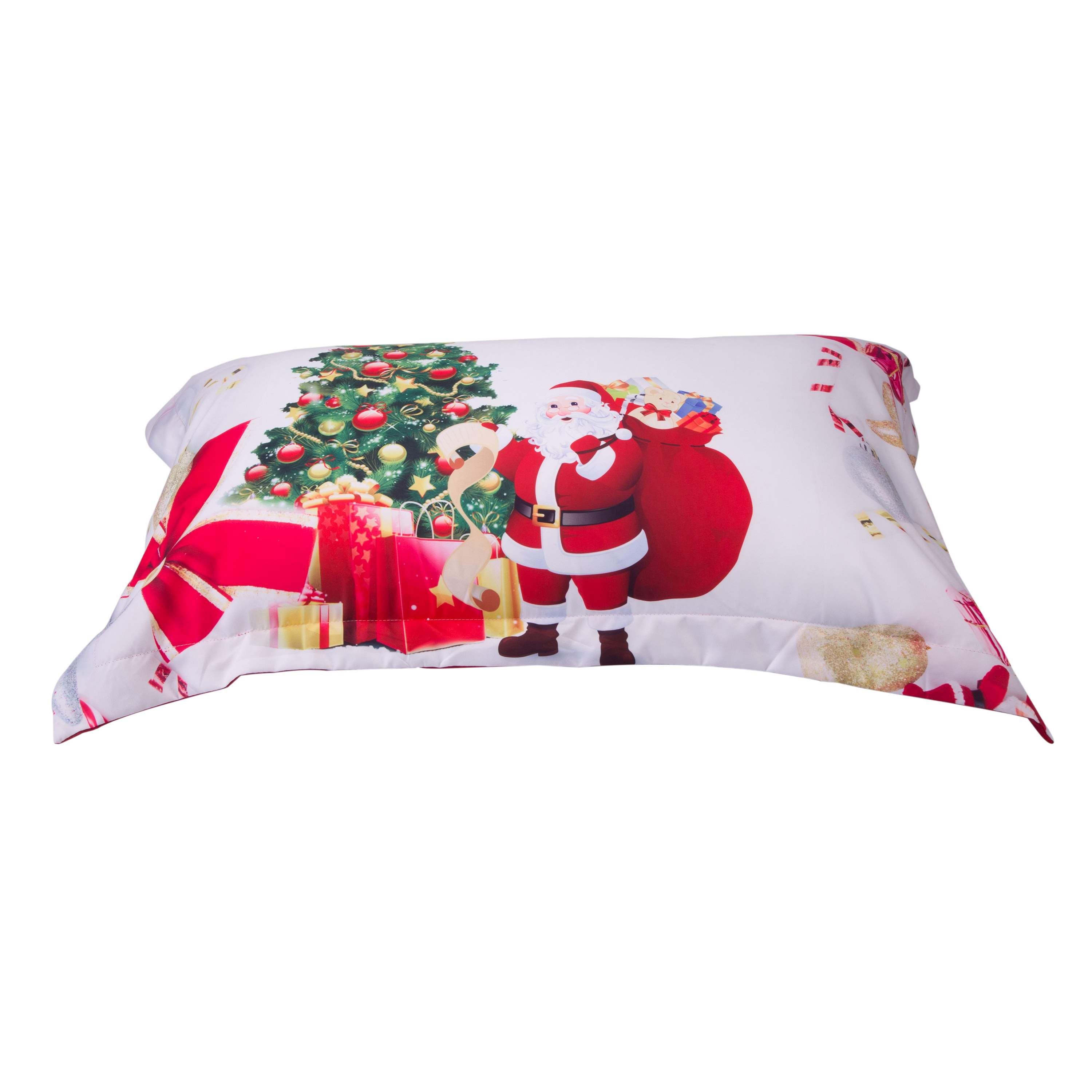 Vivilinen 3D Santa and Christmas Tree Printed Cotton 4-Piece White Bedding Sets