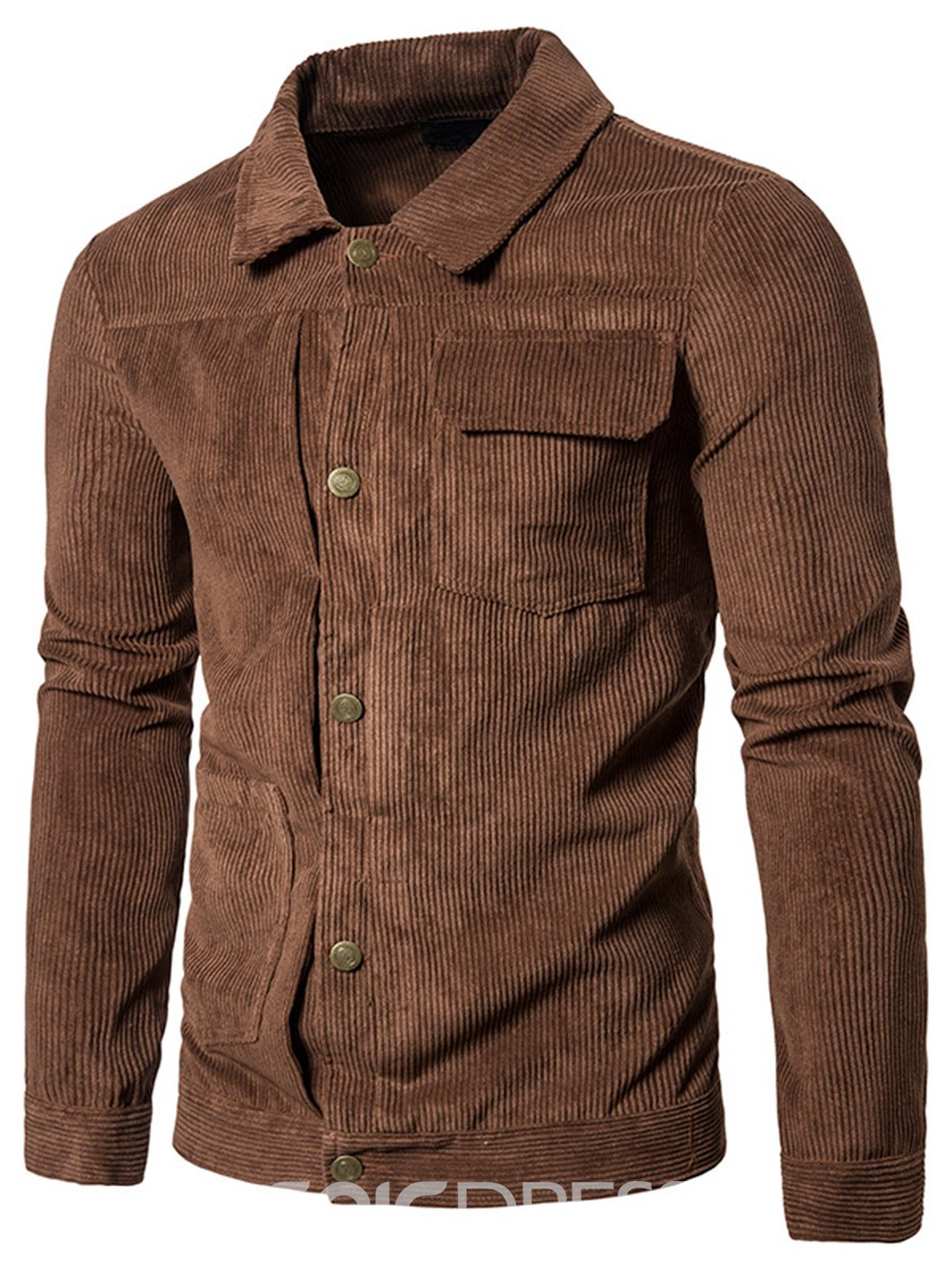 Ericdress Plain Corduroy Casual Men's Jacket
