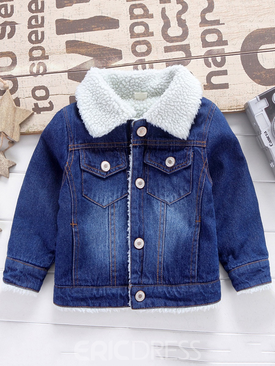 Ericdress Lapel Single-Breasted Thick Baby Boy's Jean Jacket