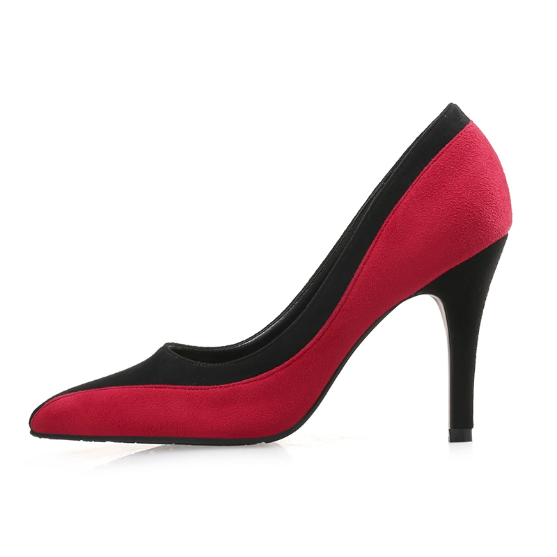 Ericdress Suede Color Block Stiletto Heel Pumps