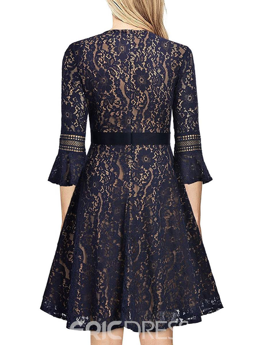 Ericdress Flare Sleeve Elegent Lace A Line Dress
