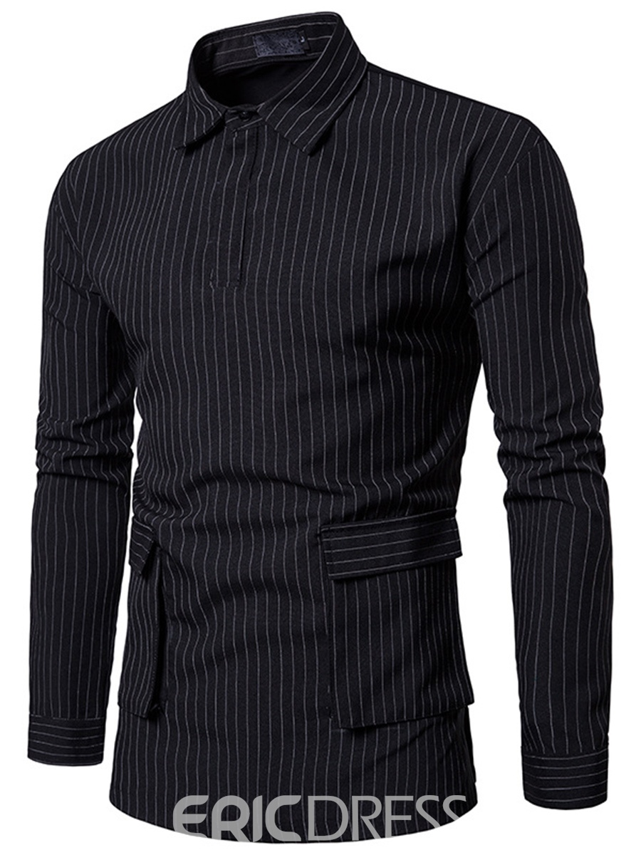 Ericdress Stripe Pocket Long Sleeve Men's Shirt