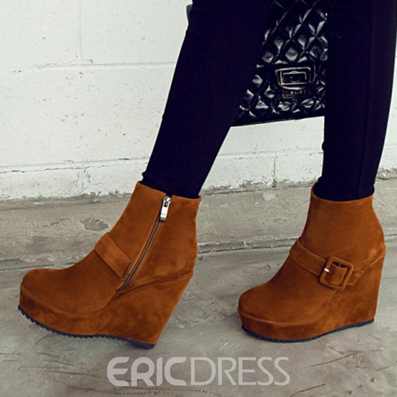 Ericdress Buckle Platform Women's Wedge Heel Ankle Boots