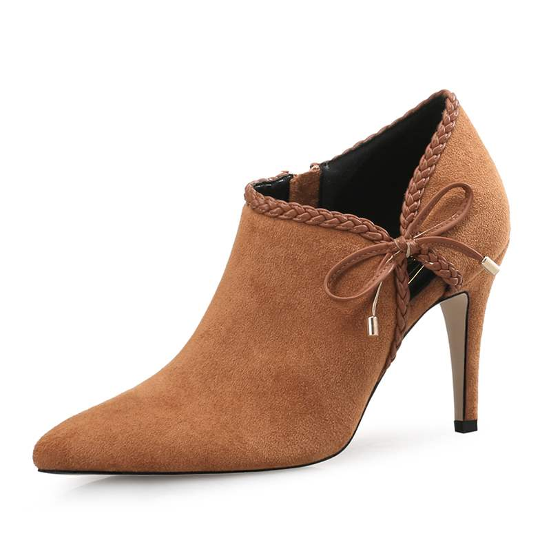 Ericdress Pointed Toe Stiletto Heel Boots with Bowknot