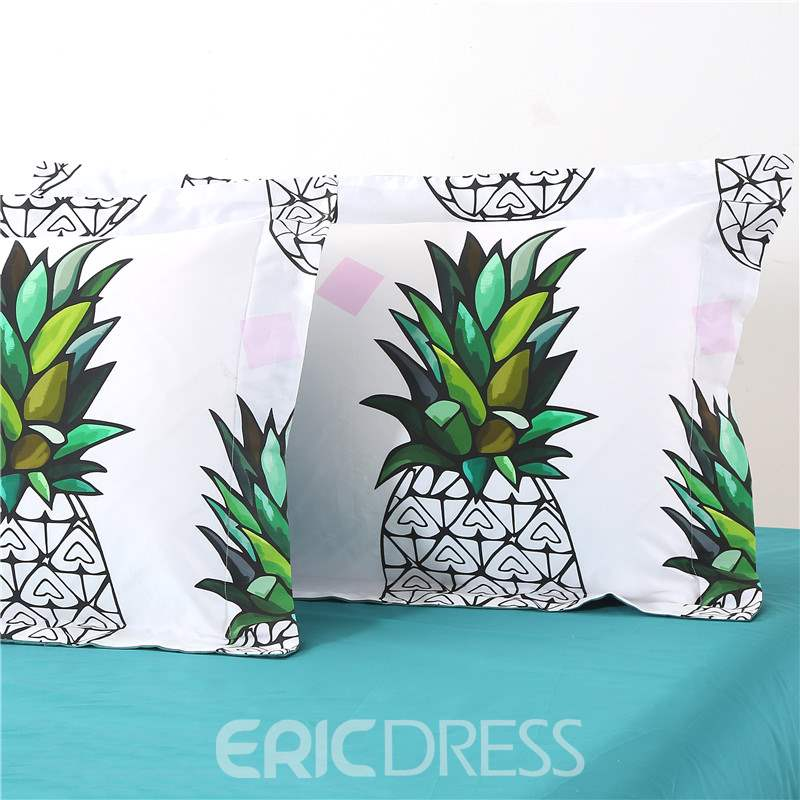 Adorila 60S Brocade Cotton Pineapples with Green Leaves 4-Piece White Bedding Sets/Duvet Cover