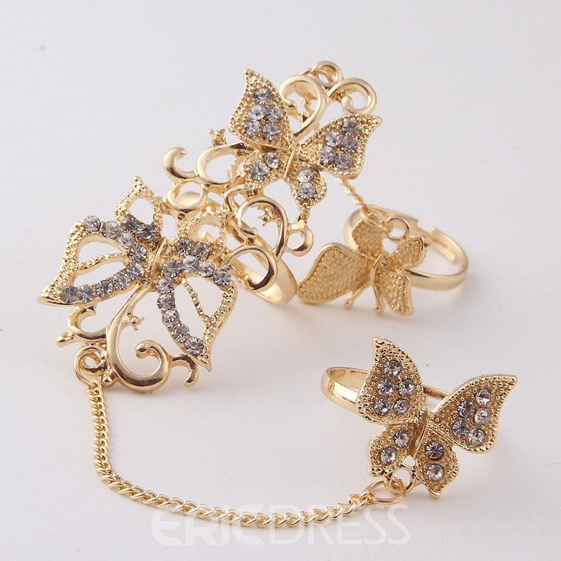 Ericdress Attractive Butterfly Diamante Hollow Out Hot Ring