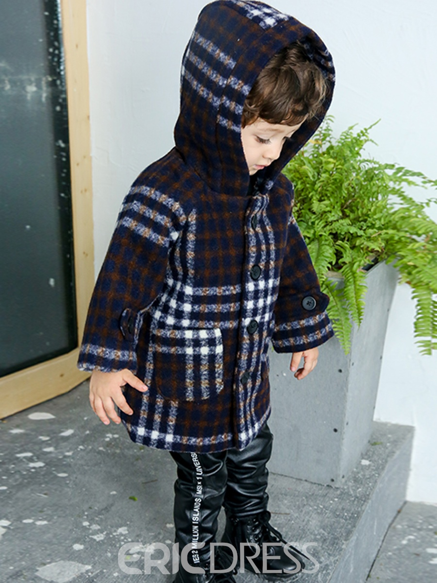Ericdress Plaid Single-Breasted Hooded Boy's Coat