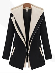 Ericdress Slim Mid-Length Zipper Patchwork Coat