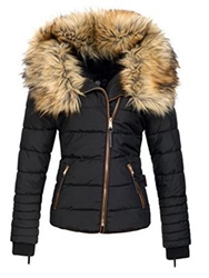 Ericdress Slim Faux Fur Zipper Jacket thumbnail