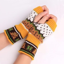 Ericdress Christmas Tree Knitting Wool Colorful Women's Gloves