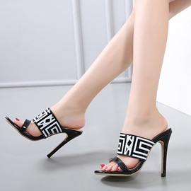 Ericdress Print Stripe Flip Flop Stiletto Mules Shoes