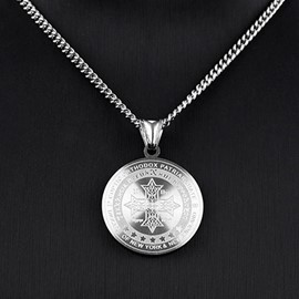 Ericdress Trendy Titanium Steel Round Pendant Men's Necklace