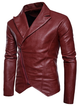 Ericdress Plain Lapel Oblique Zip Vogue Men's Jacket