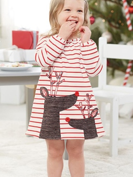 Ericdress Christmas Long Sleeve Stripe Elk Print Baby Girl's Dress